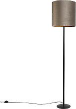 Lampadaire noir avec abat-jour velours taupe et or