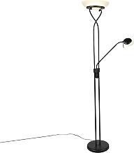 Lampadaire noir avec LED et variateur avec lampe