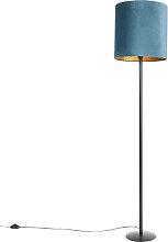 Lampadaire noir velours abat-jour bleu avec or 40