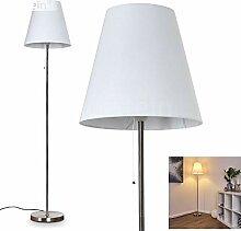Lampadaire Nuoro en métal et tissu blanc, lampe