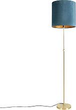 Lampadaire or / laiton avec abat-jour velours bleu