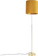 Lampadaire or / laiton avec abat-jour velours