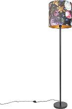 Lampadaire romantique noir avec abat-jour 40 cm -