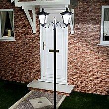 Lampadaire Solaire LED en Aluminium Noir 2 Têtes