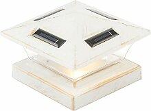 Lampadaire solaire sur pied LED blanc antique pour