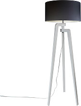 Lampadaire trépied blanc avec abat-jour 50 cm