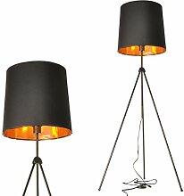 Lampadaire trepied interieur moderne en metal avec