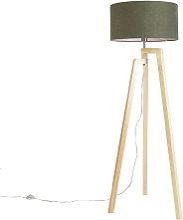 Lampadaire tripode bois avec abat-jour 50 cm vert