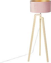 Lampadaire tripode bois avec abat-jour velours