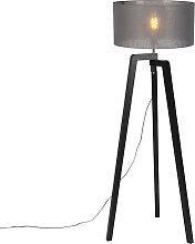 Lampadaire tripode bois noir avec abat-jour gris