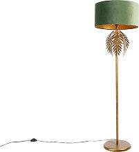 Lampadaire vintage doré avec abat-jour en velours