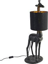 Lampadaire vintage noir avec abat-jour en tissu