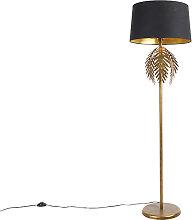 Lampadaire vintage or avec abat-jour en coton noir