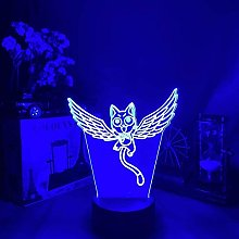 Lampe 3D Anime Illusion Chat Happy Fly Veilleuse