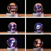 Lampe 3d de 5cm de diamètre, boule de verre à