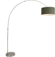Lampe à arc acier vert mousse abat-jour 50/50/25