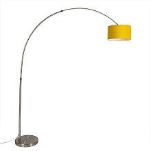 Lampe à arc en acier avec abat-jour jaune