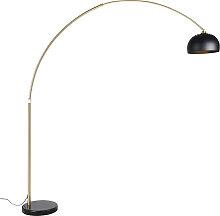 Lampe à arc moderne en laiton avec base en marbre