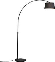 Lampe à arc moderne noire avec abat-jour en tissu