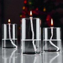 Lampe à huile en verre cylindrique, artisanat,