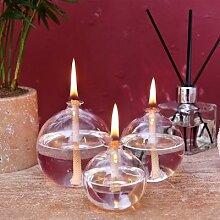 Lampe à huile en verre, ensemble de 3 bougies
