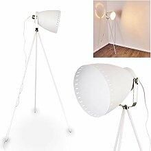Lampe à pied Tanhua en métal blanc/nickel mat -