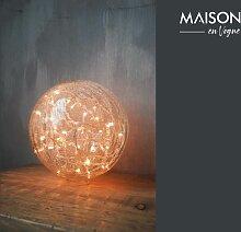 Lampe à poser 25 cm boule en verre clair craquelé