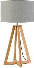 Lampe à poser abat-jour lin gris clair