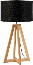 Lampe à poser abat-jour lin noir