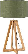 Lampe à poser abat-jour lin vert