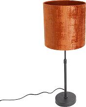 Lampe à poser abat-jour velours noir rouge 25 cm