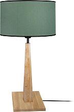 Lampe à poser bleu grisé avec pied bois NIDRA