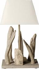 Lampe à poser bois flotté et abat jour blanc