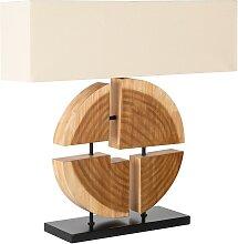 Lampe à poser design bois d'hévéa massif avec