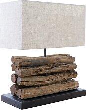 Lampe à poser design bois flotté avec abat-jour