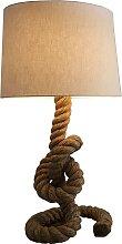 Lampe à poser design corde marron avec abat-jour