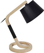 Lampe à poser design pied cercle bois noir TWIST