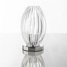 Lampe à poser design transparent, rouge ou bleu