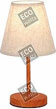 Lampe à poser E14 Max.40W abat-jour Lin Blanc -