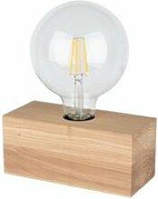 Lampe à poser en chêne huilé, design cubic,