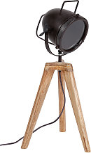 Lampe à poser industrielle trépied bois et