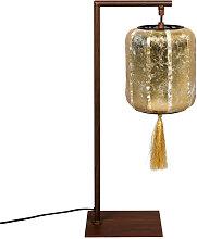 Lampe à poser style lanterne japonaise or