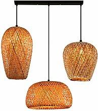 Lampe à Suspension bois vintage rotin lampe de
