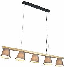 Lampe à suspension Country en bois gris 5