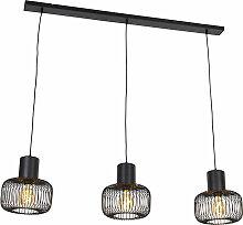 Lampe à suspension Design noire 3 lumières -