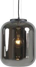 Lampe à suspension design noire avec verre fumé