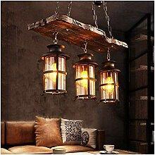 Lampe à suspension industrielle E27 Vintage bois