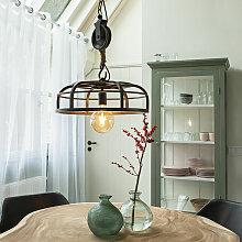 Lampe à suspension industrielle en acier noir -
