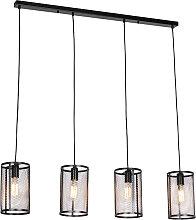 Lampe à suspension industrielle noire 4 lumières