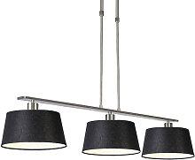 Lampe à suspension moderne en acier noir avec
